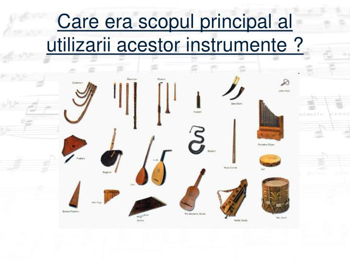 Care era scopul principal al  utilizarii acestor instrumente?