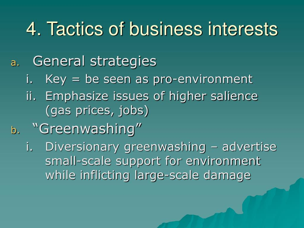 4. Tactics of business interests