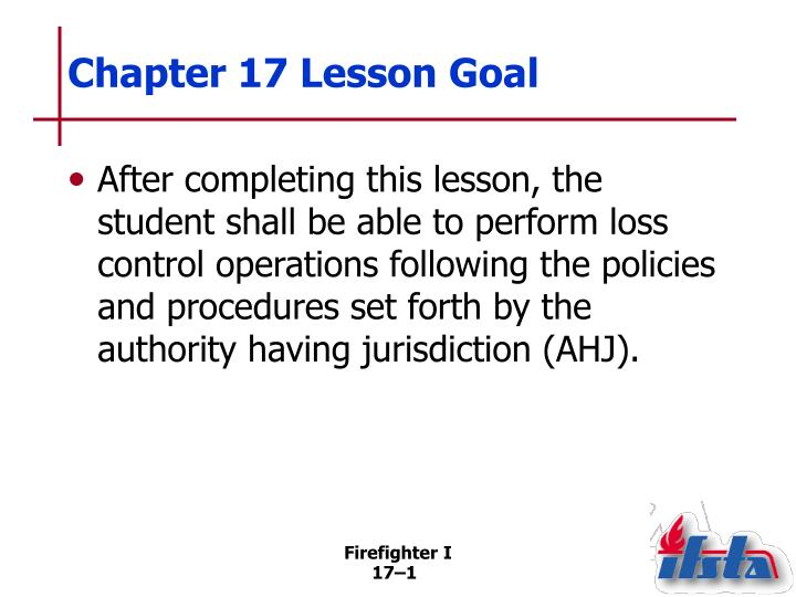 Chapter 17 Lesson Goal