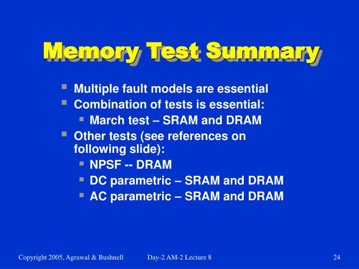 Memory Test Summary
