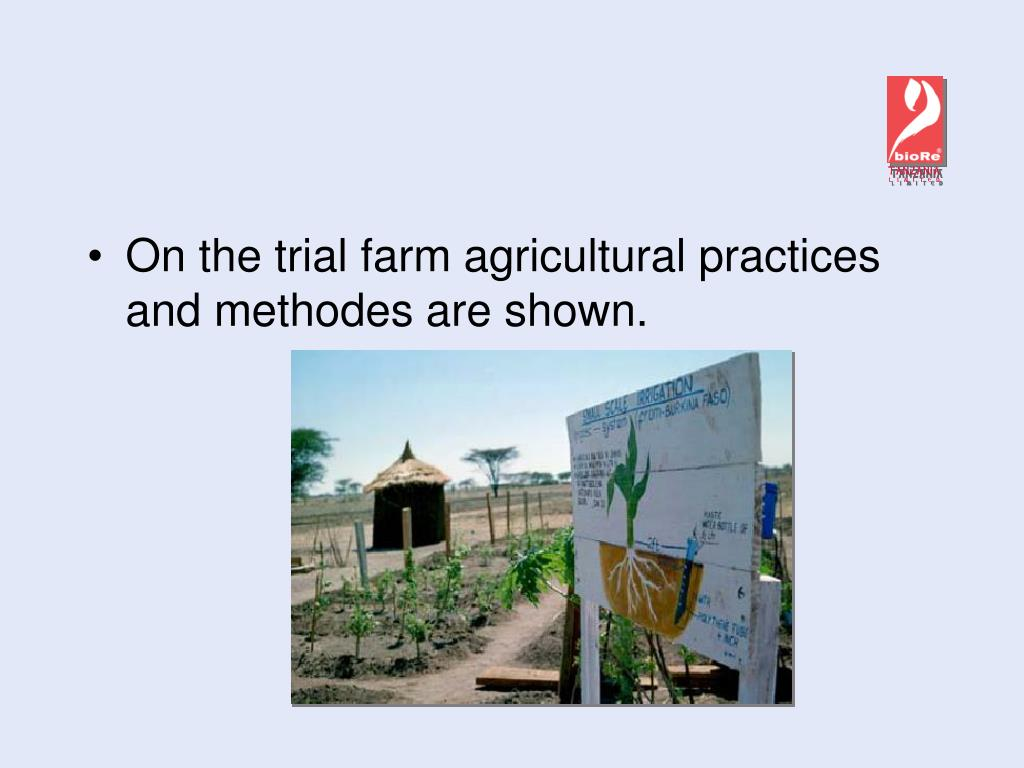 On the trial farm agricultural practices and methodes are shown.