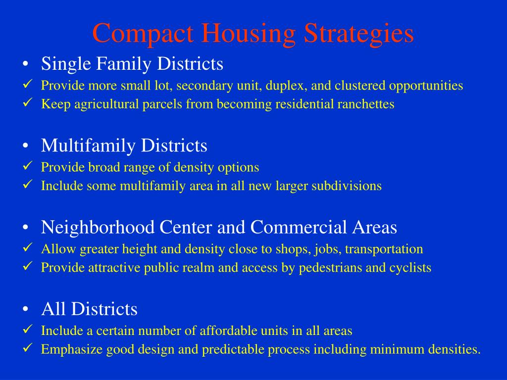 Compact Housing Strategies