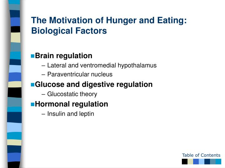 The Motivation of Hunger and Eating: Biological Factors