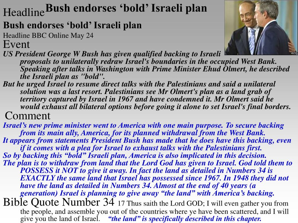 Bush endorses 'bold' Israeli plan