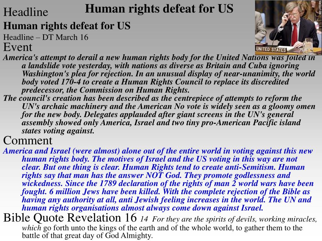 Human rights defeat for US