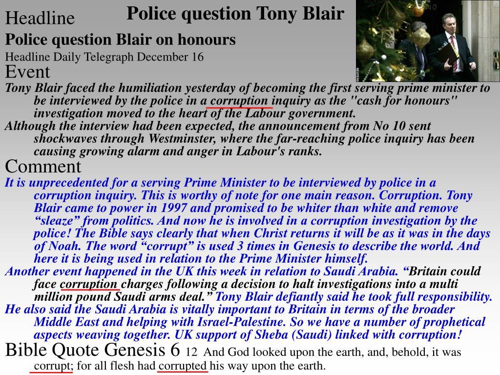 Police question Tony Blair