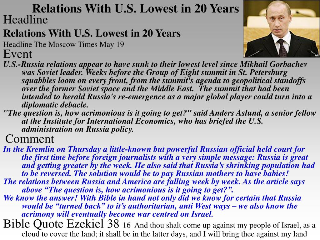 Relations With U.S. Lowest in 20 Years