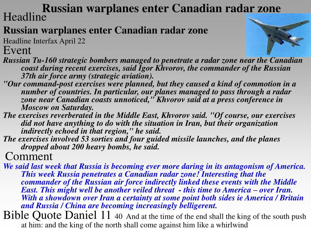Russian warplanes enter Canadian radar zone