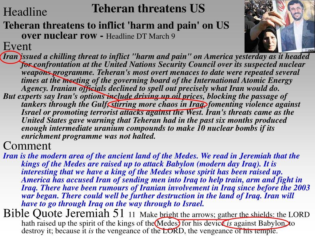 Teheran threatens US