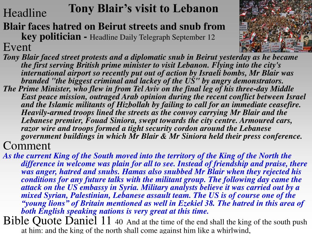 Tony Blair's visit to Lebanon
