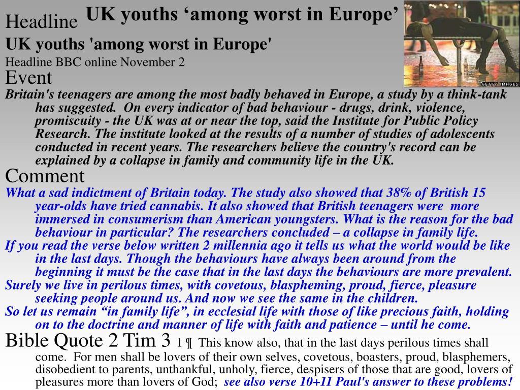 UK youths 'among worst in Europe'