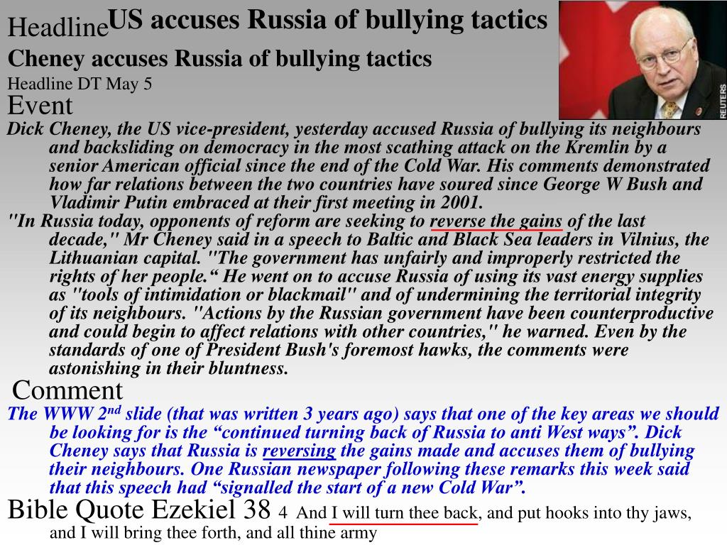 US accuses Russia of bullying tactics