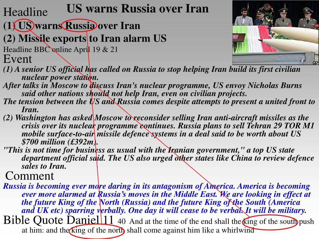 US warns Russia over Iran