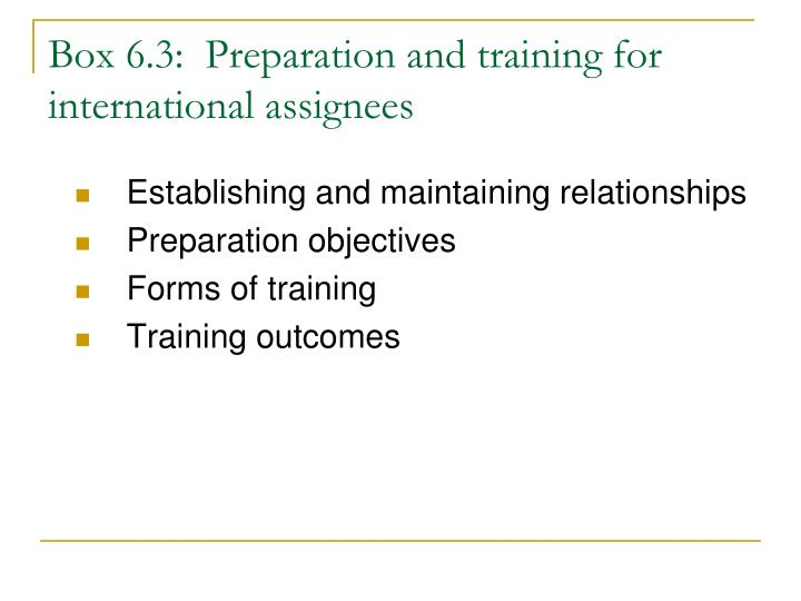 Box 6.3:  Preparation and training for international assignees