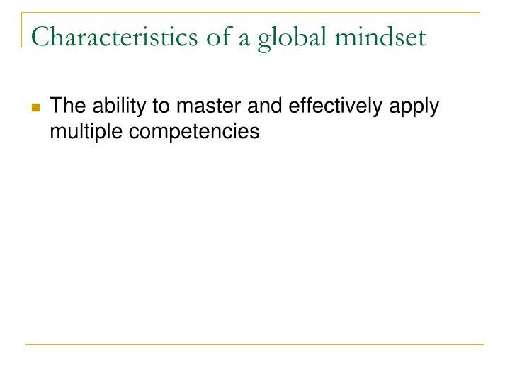 Characteristics of a global mindset