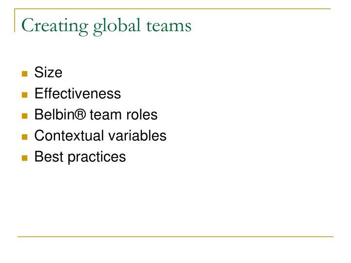 Creating global teams
