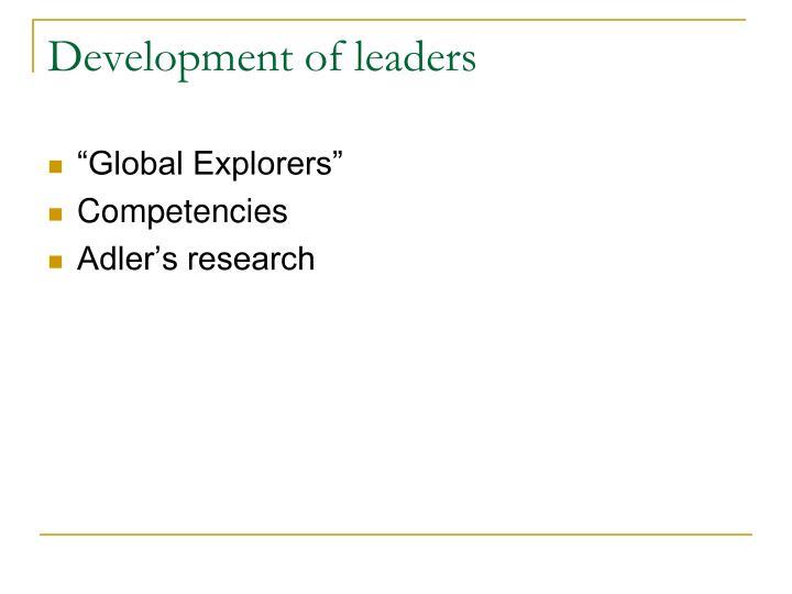 Development of leaders