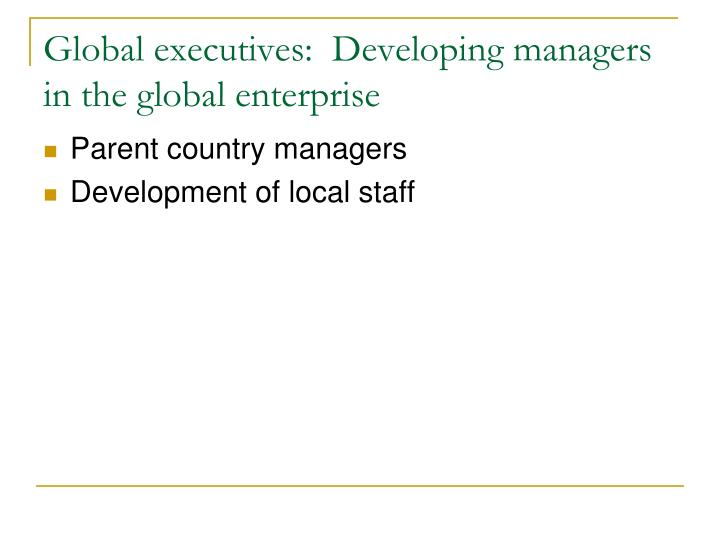 Global executives:  Developing managers in the global enterprise