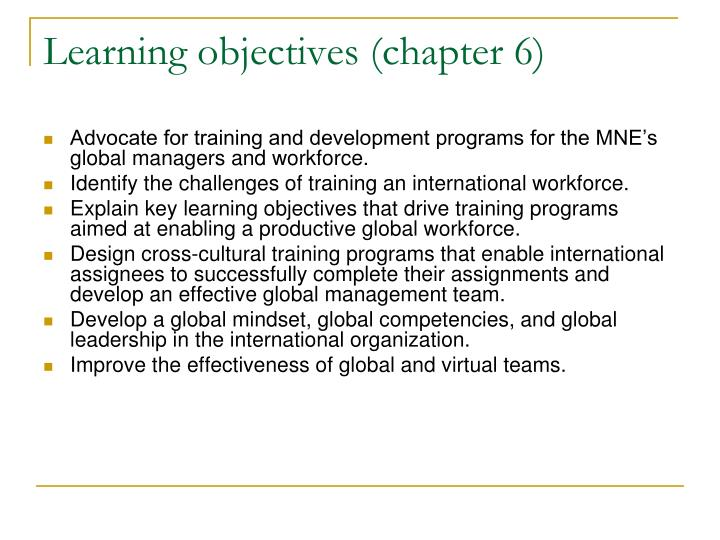 Learning objectives chapter 6