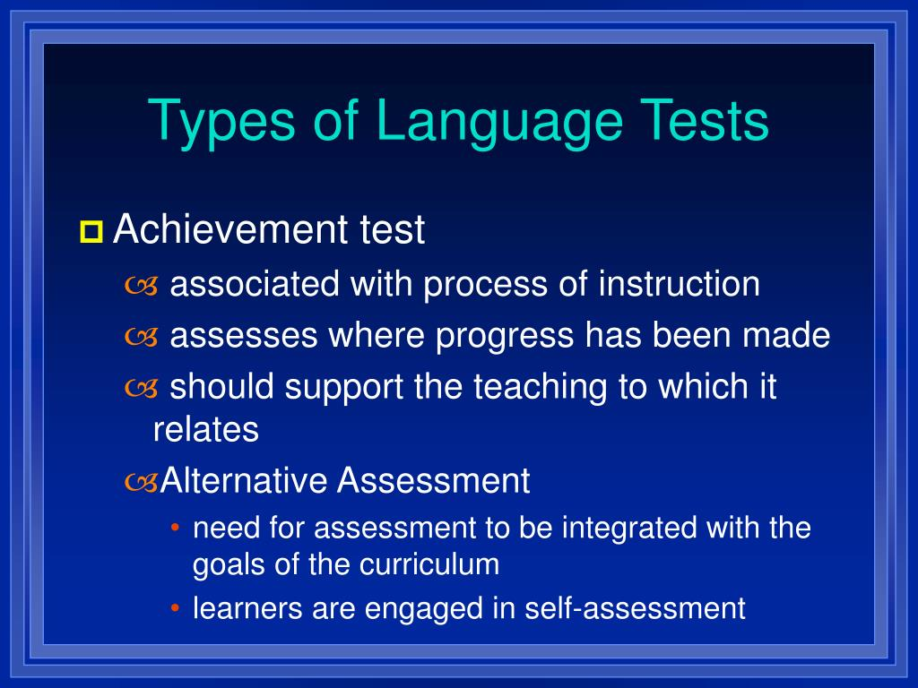 Types of Language Tests