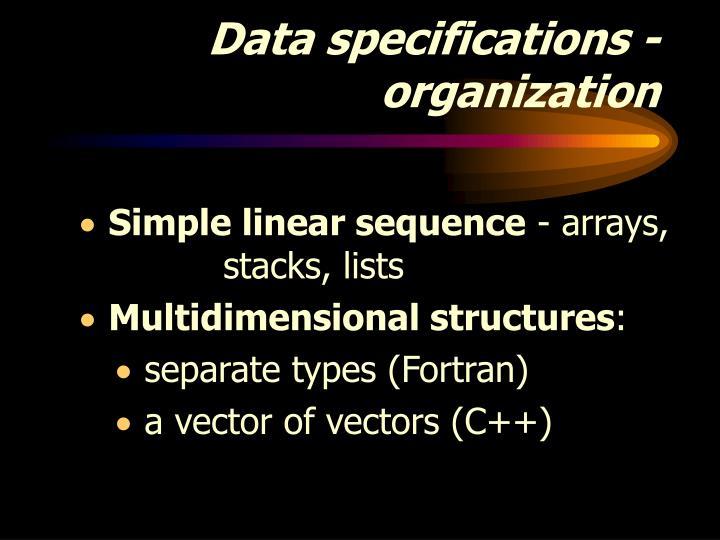 Data specifications - organization