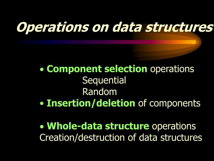 Operations on data structures