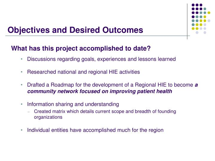 Objectives and Desired Outcomes