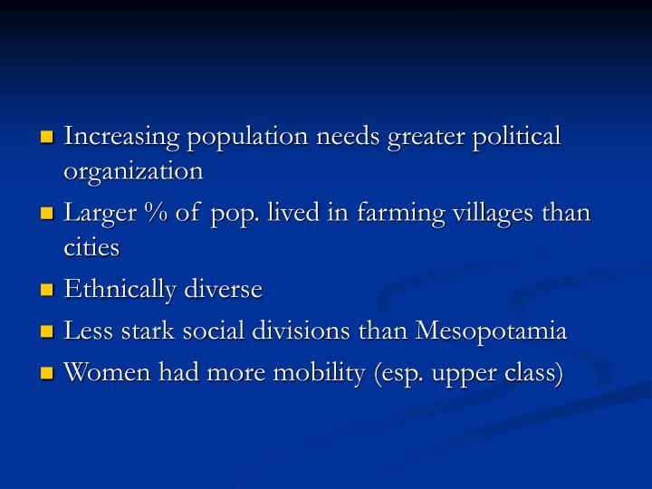 Increasing population needs greater political organization