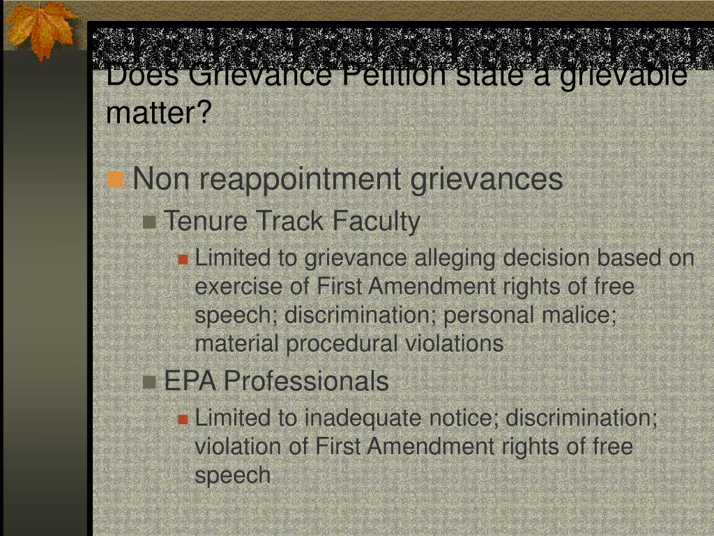 Does Grievance Petition state a grievable matter?