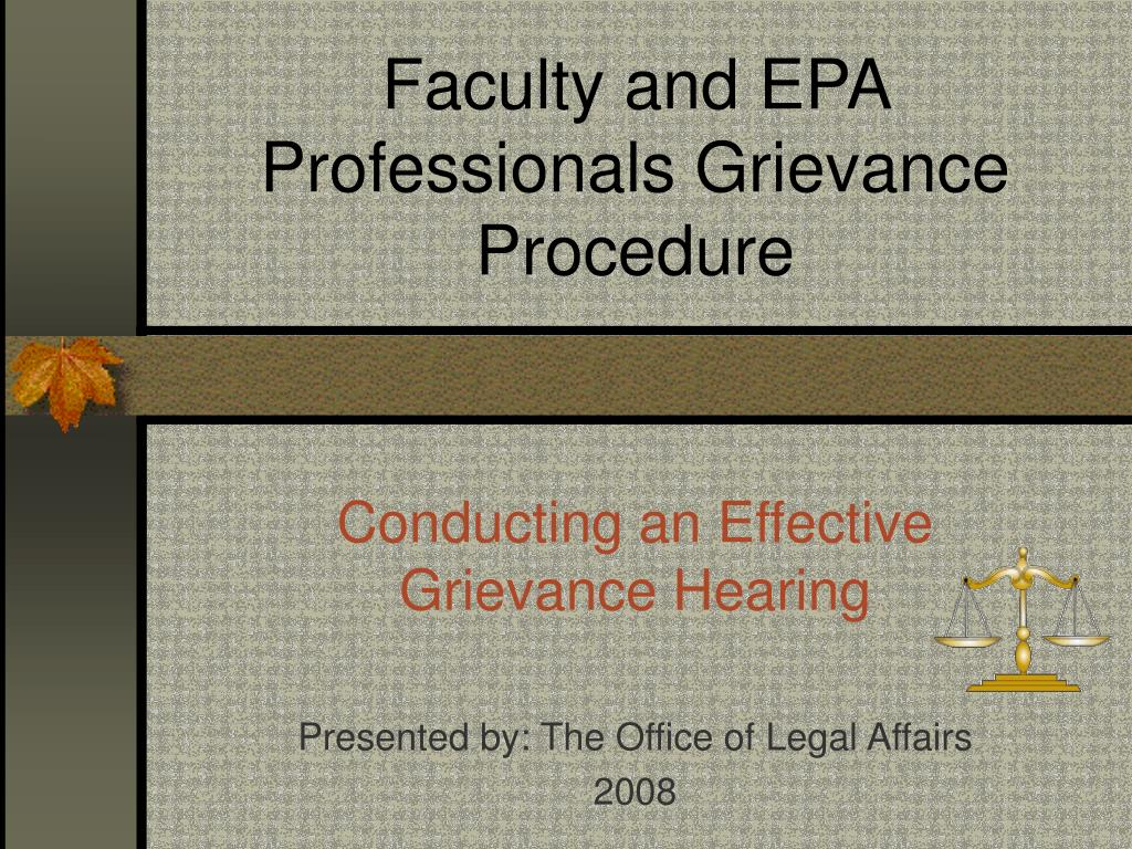 Faculty and EPA Professionals Grievance Procedure