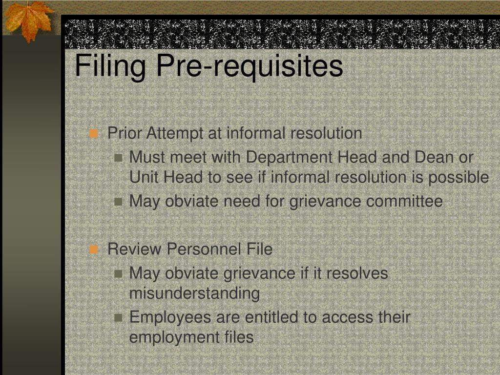 Filing Pre-requisites
