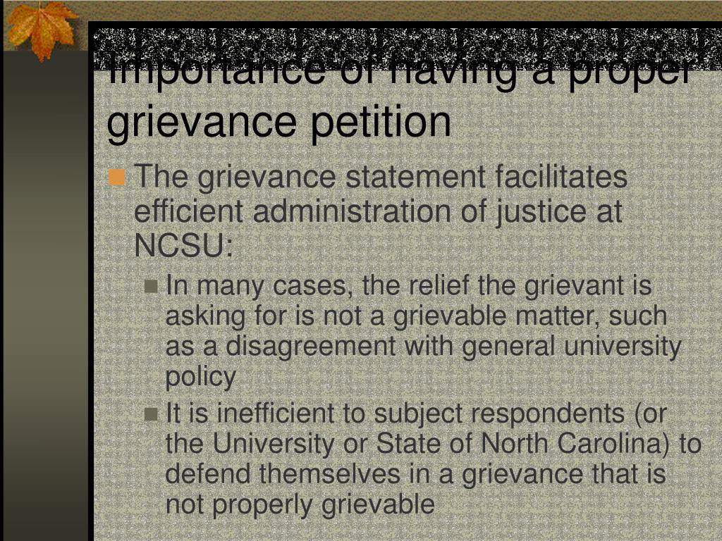 Importance of having a proper grievance petition