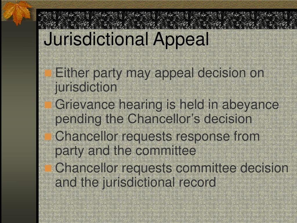 Jurisdictional Appeal