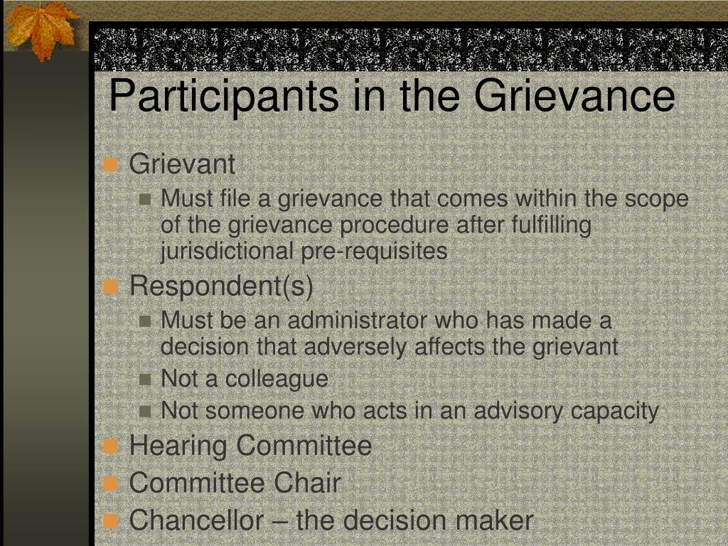 Participants in the Grievance