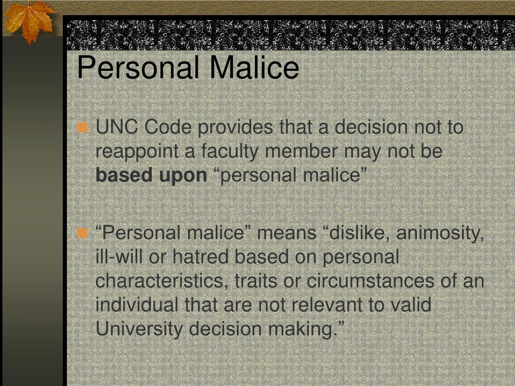 Personal Malice