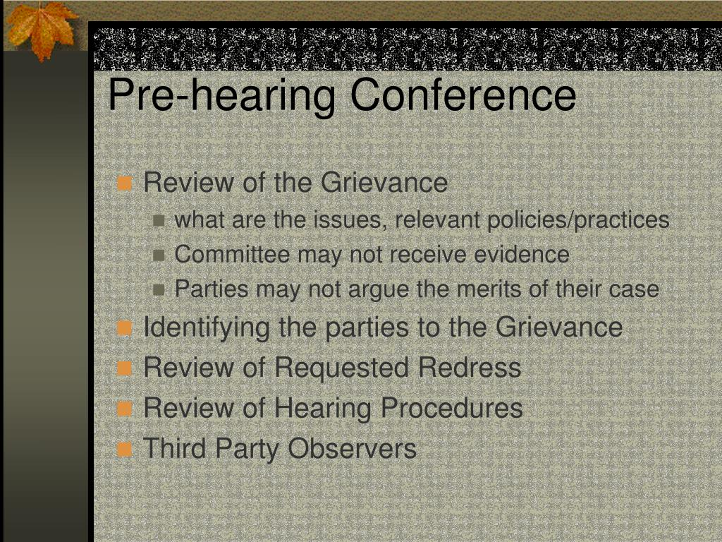 Pre-hearing Conference