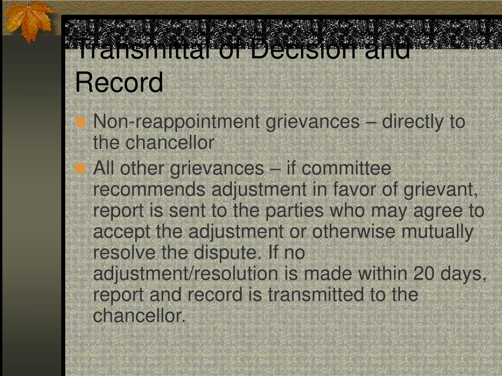 Transmittal of Decision and Record