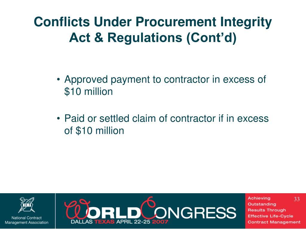 Conflicts Under Procurement Integrity Act & Regulations (Cont'd)