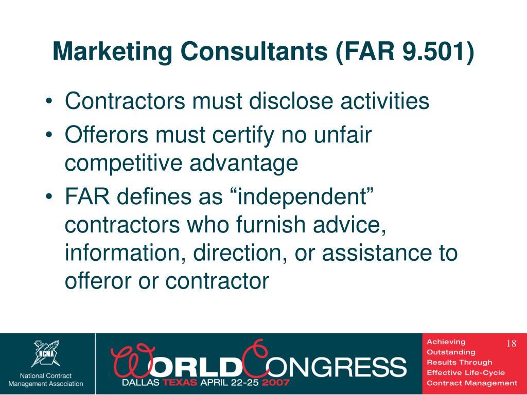 Marketing Consultants (FAR 9.501)