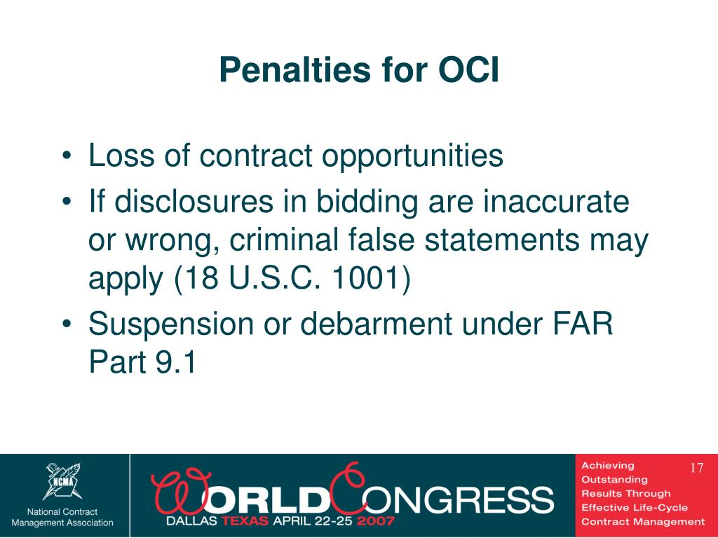 Penalties for OCI