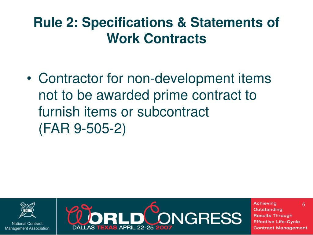 Rule 2: Specifications & Statements of Work Contracts