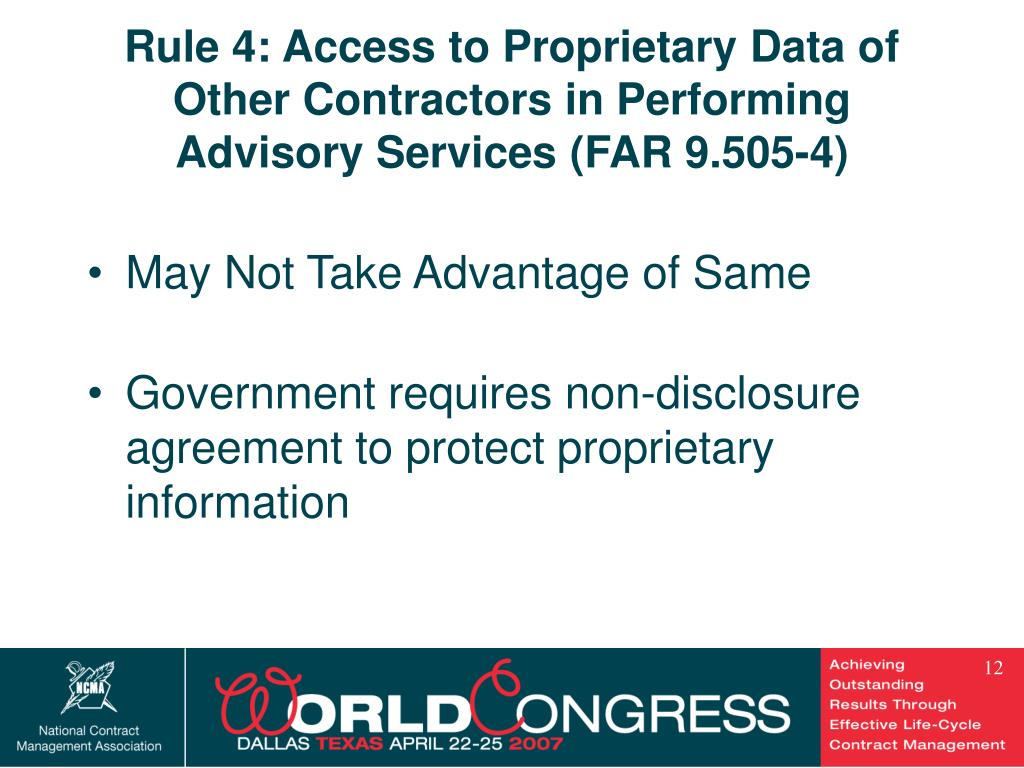 Rule 4: Access to Proprietary Data of Other Contractors in Performing Advisory Services (FAR 9.505-4)