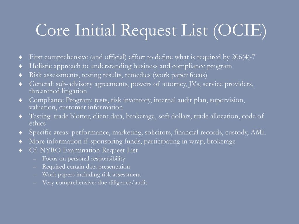 Core Initial Request List (OCIE)