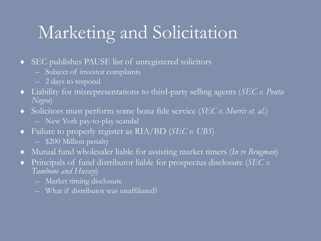 Marketing and Solicitation