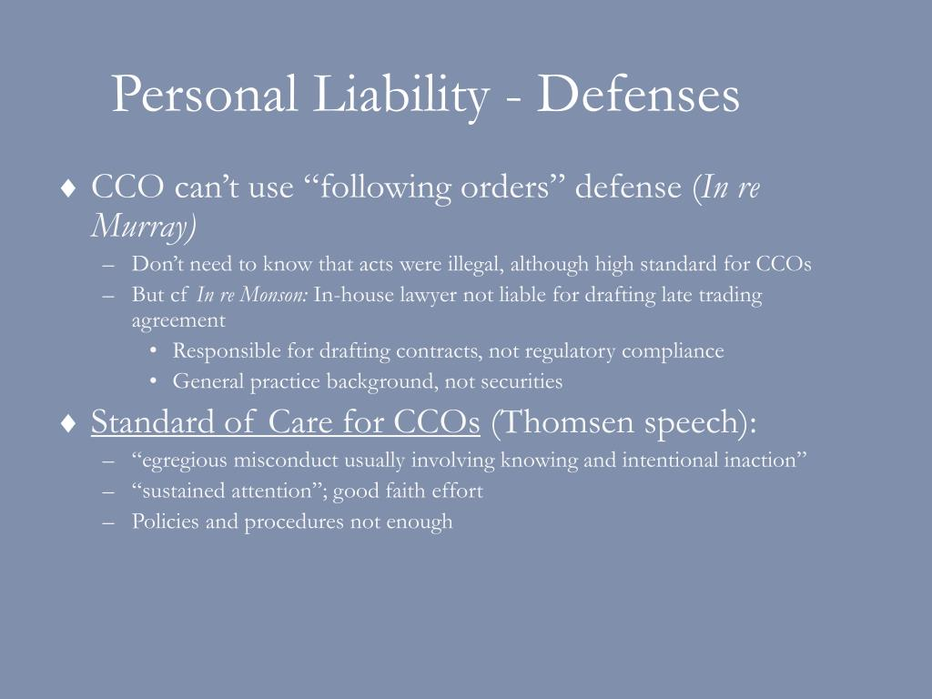 Personal Liability - Defenses