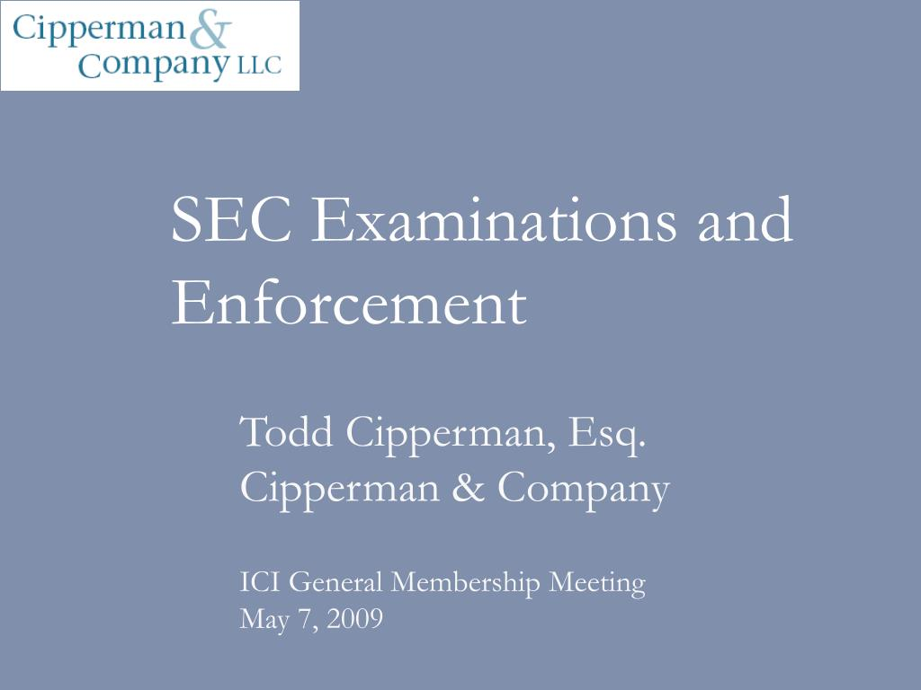 SEC Examinations and Enforcement