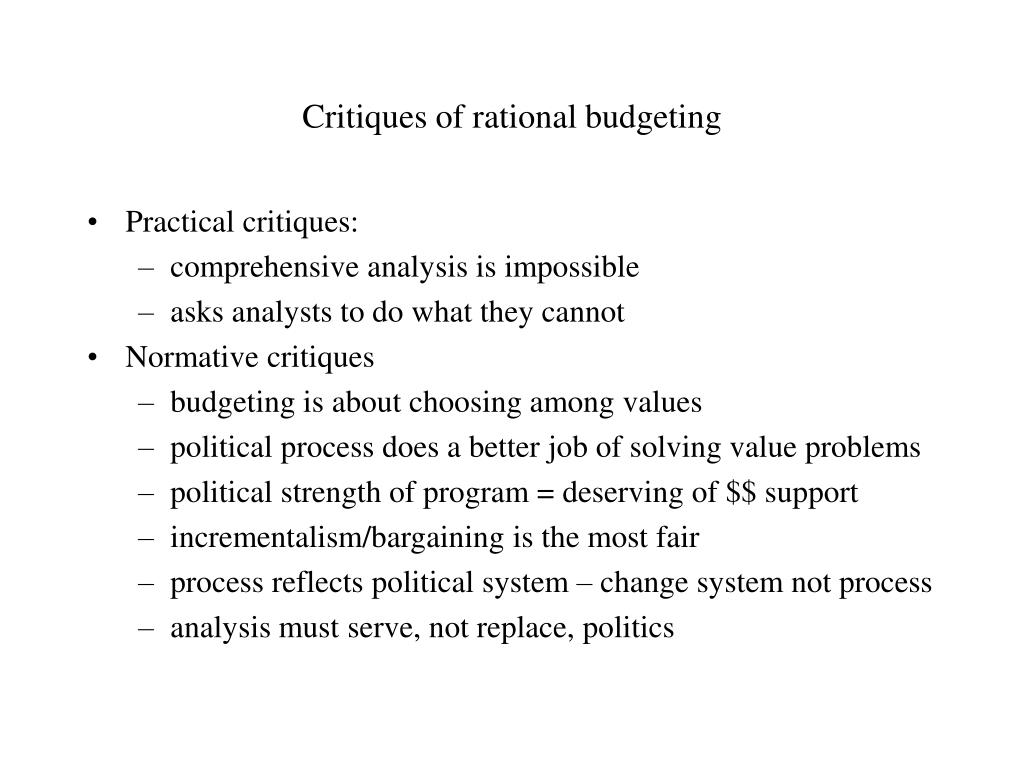 Critiques of rational budgeting