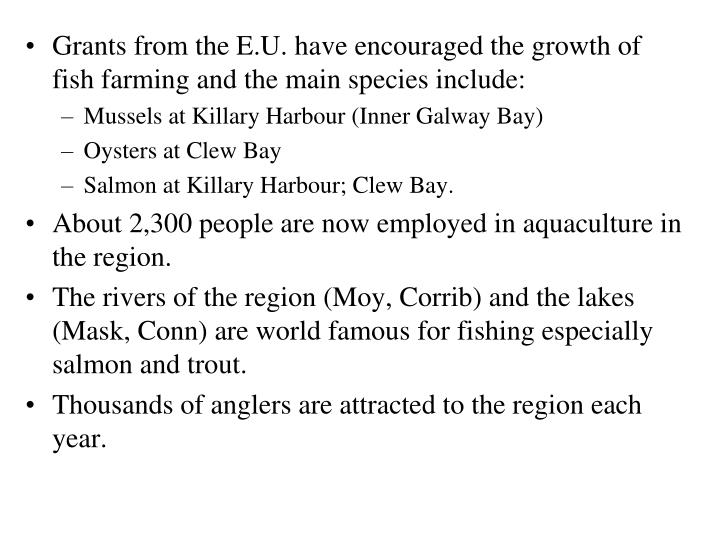 Grants from the E.U. have encouraged the growth of fish farming and the main species include: