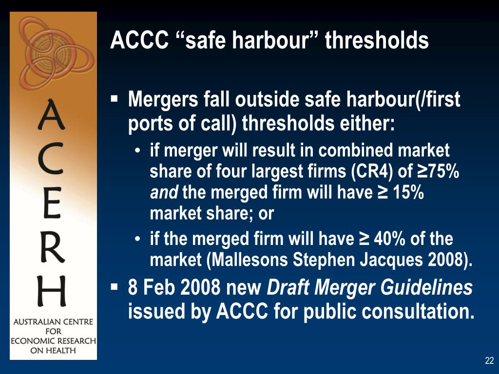 "ACCC ""safe harbour"" thresholds"