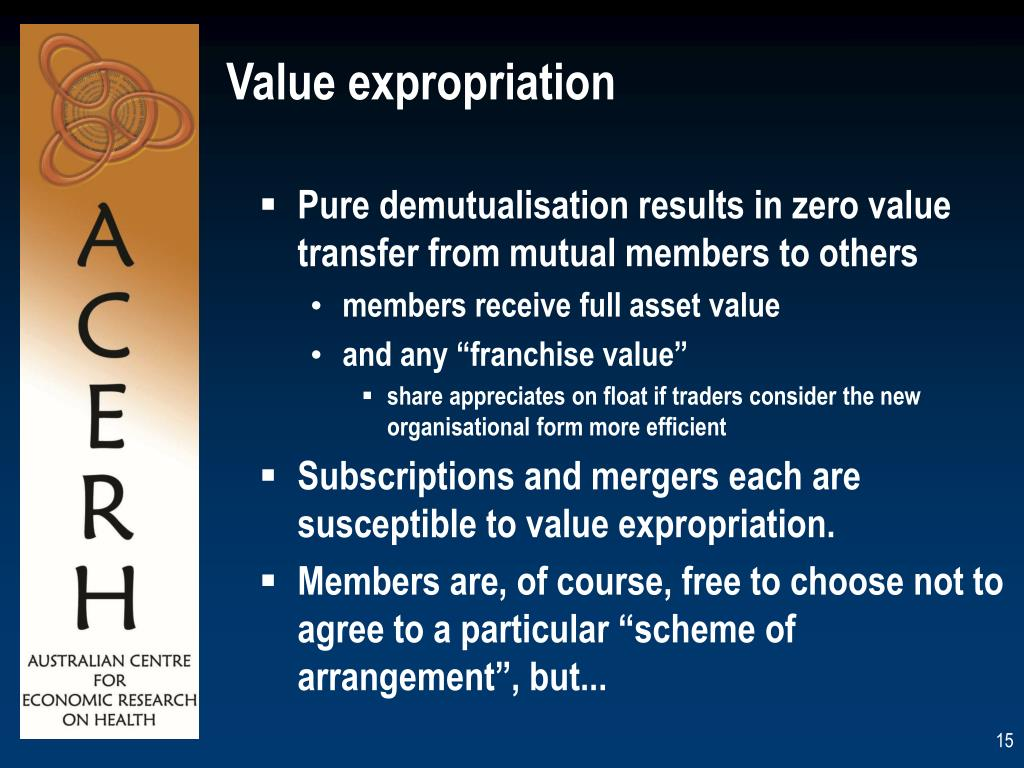 Pure demutualisation results in zero value transfer from mutual members to others